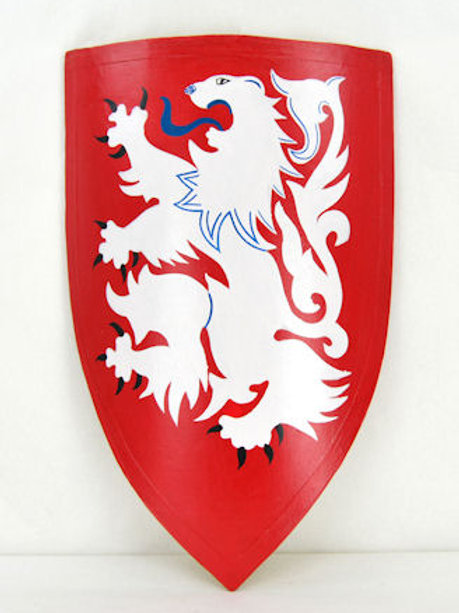 Medieval Heater Shield - White Lion on Red Field - AH3894