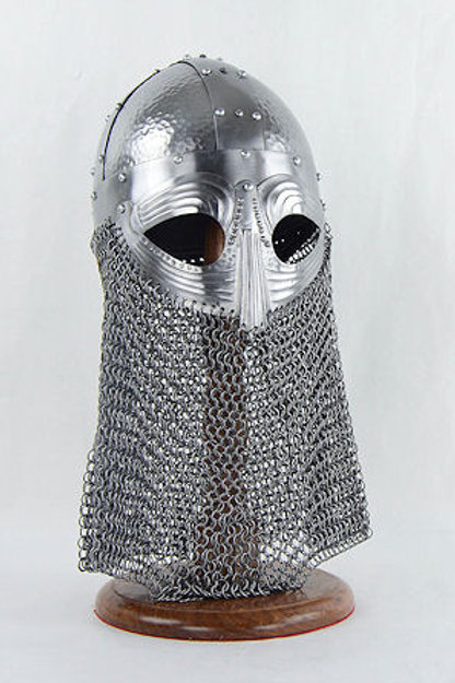 Viking Vendel Helm with Hammered Detail and Camail - 18 Gauge - LB25163