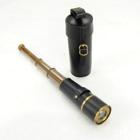 Nautical / Pirate Brass Spyglass with Leather Case - SNNE11701