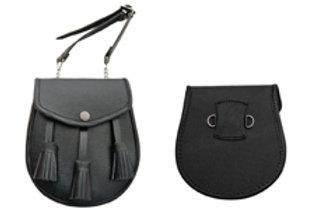 Black Leather Sporran w/ Tassels