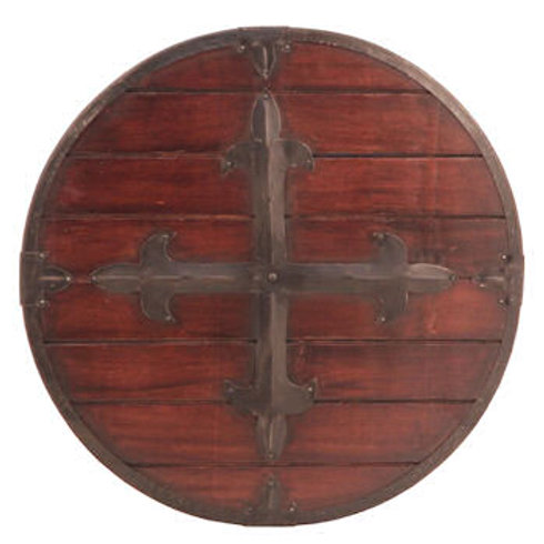 Medieval Wooden Round Shield with Riveted Cross - AH3980A