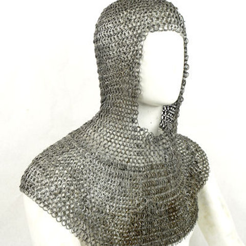 Chainmail Coif - Alternating Dome Riveted Construction - Mild Steel Flat Rings -