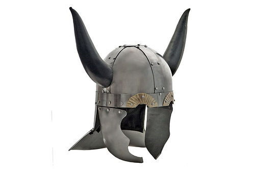Viking Helm W/ Leather Horns