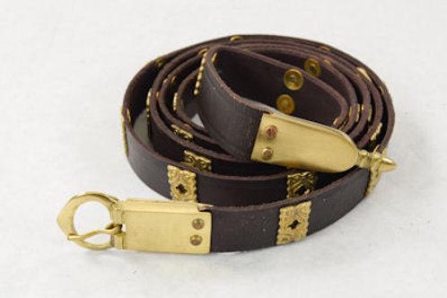 Leather Crusader Belt w/ Quatrefoil Brass Studs