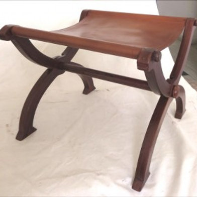 F0011 Wooden folding stool with leather seat