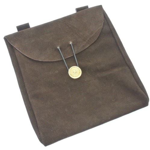 Large Brown Suede Leather Belt Pouch - SNLA6708BR