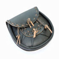 Leather Sporran with Tied Tassles - SNLA6722BK
