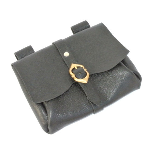 Messenger Pouch - Black Leather - SNLA6714Bk