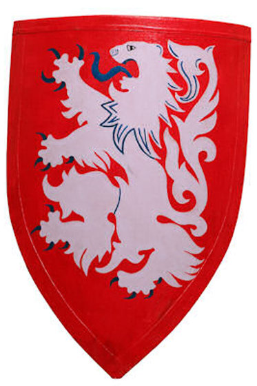 Crusader Lion Shield - White Lion on Red - AH3894
