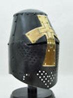 Darkened Crusader Helmet with Brass Cross - AH382