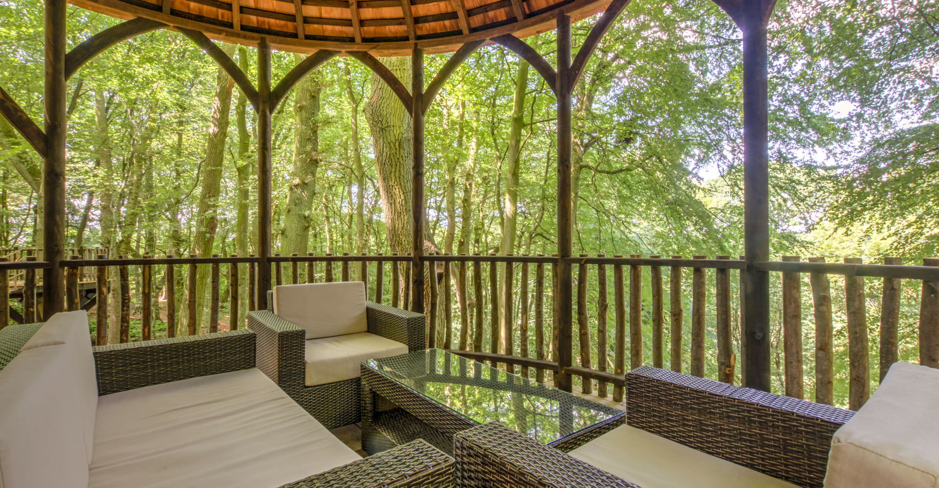 Private seating area overlooking pristine woodlands