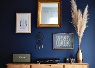 Grand mur bleu décorer