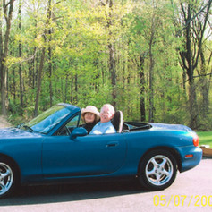 Carolynn and I in our 2002 Miata