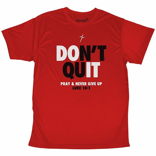 Youth Performance Wear T-Shirt Don't Quit Never Give Up Red