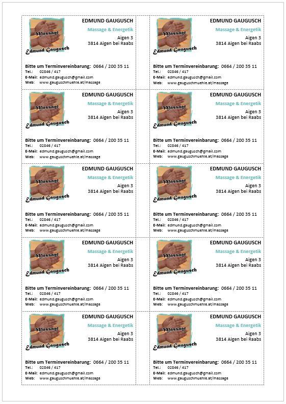 Word-Vorlage Visitenkarten