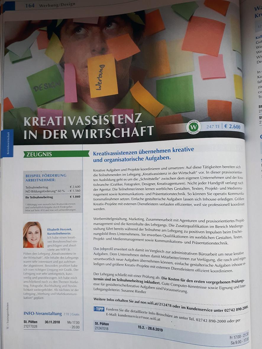 Kreativassistenz in der Wirtschaft - Kursteilnehmerin Elisabeth Herynek