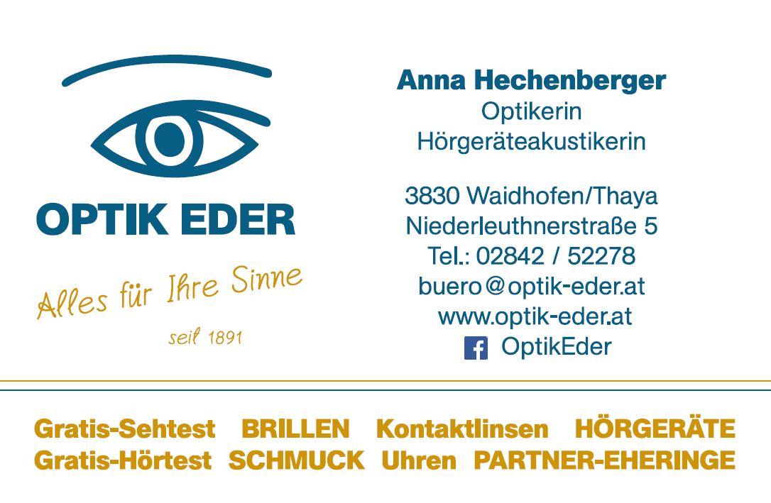 Visitenkarten Optik Eder Mitarbeiterin