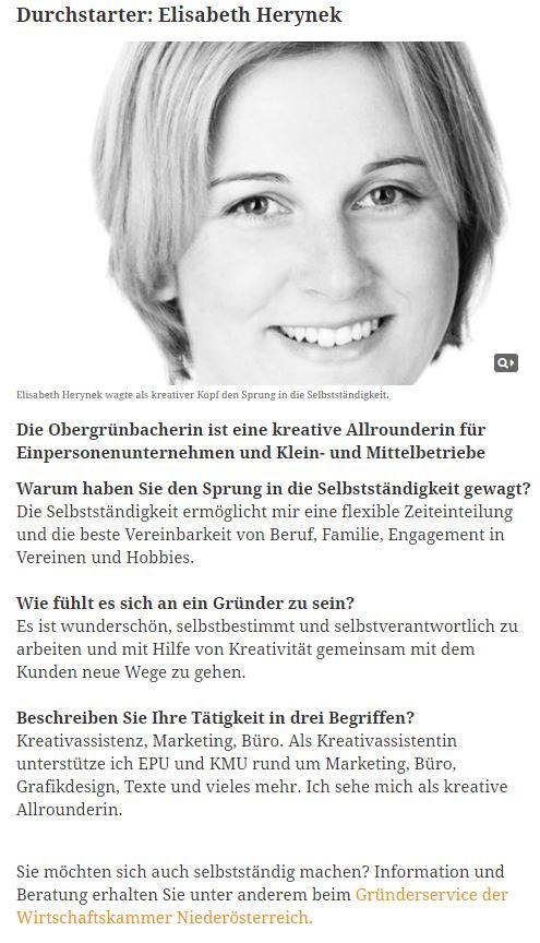 Durchstarter der Woche (Quelle: https://www.meinbezirk.at/waidhofenthaya/wirtschaft/durchstarter-elisabeth-herynek-d2080629.html)