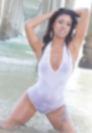 Danni B in white bodysuit on La Jolla Beach. Captured by David Van