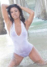 Danni B model in white bodysuit on La Jolla Beach. Captured by David Van