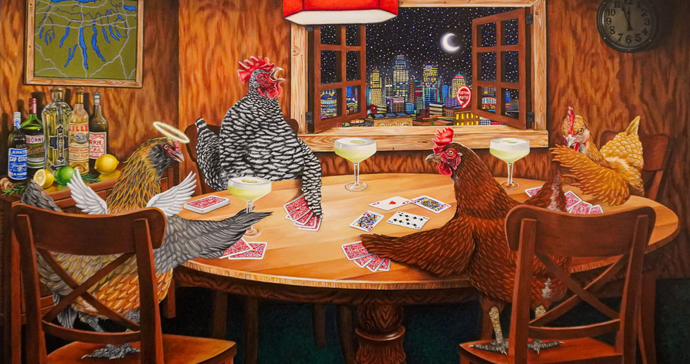 Chickens Playing Euchre