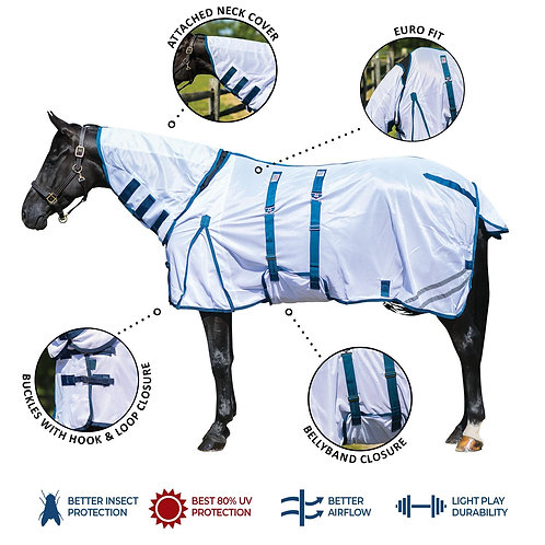 Interlock Mesh Bellyband Combo Fly Sheet with Attached Neck Cover