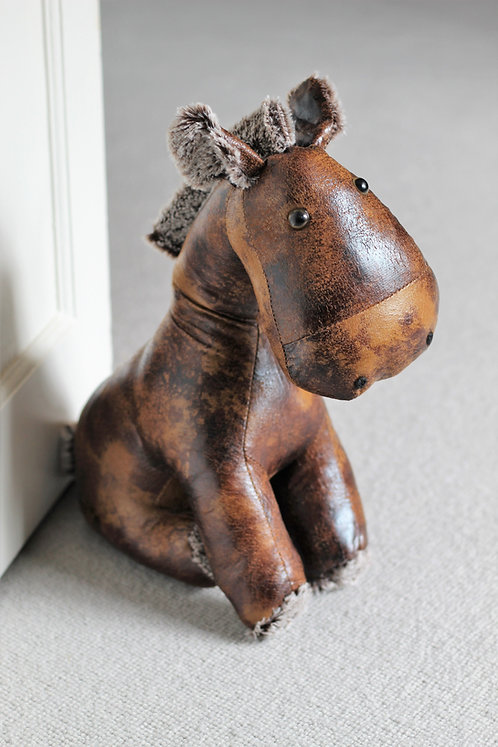 Horse doorstop, made from distressed faux leather