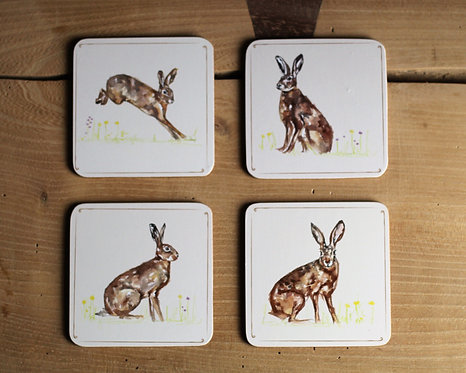 Set of 4 country style hare coasters