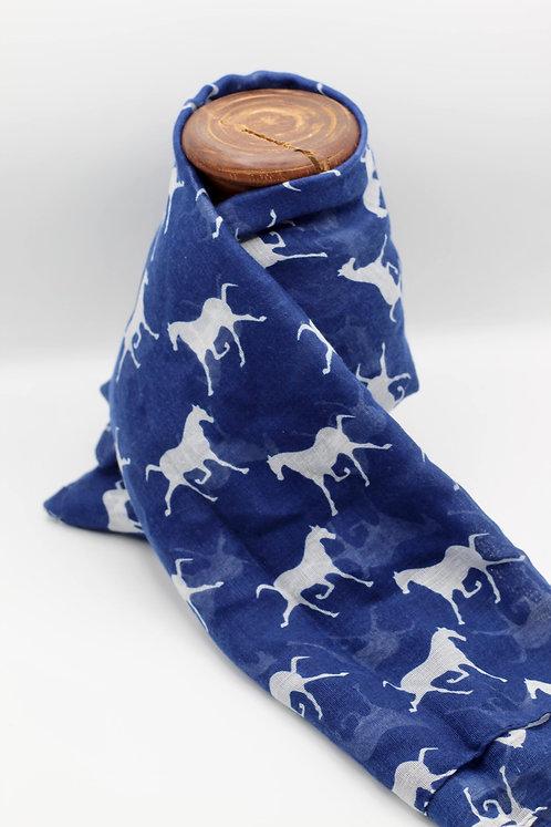 Horse gallop scarf - Blue