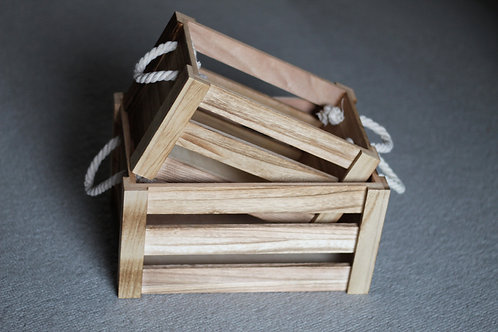 Rustic country wooden storage basket with rope handles