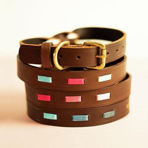 Polo Brown Leather Dog Collar