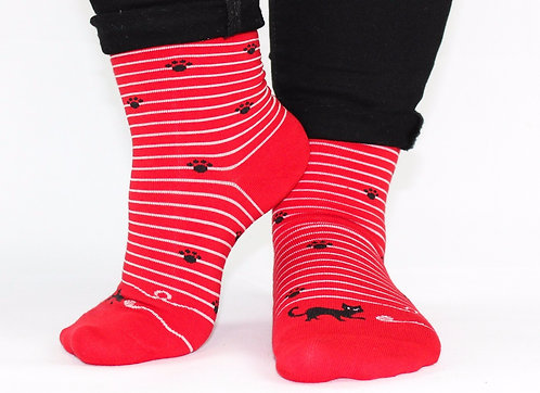 Red kitten socks