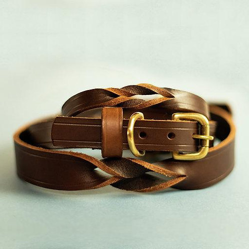 Twisted Brown Leather Dog Collar