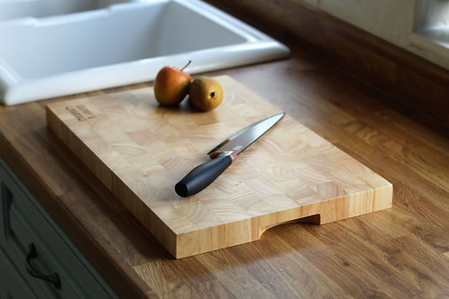 Wood block kitchen chopping board