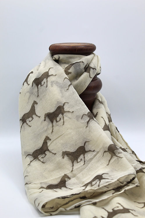 Horse gallop scarf - Natural