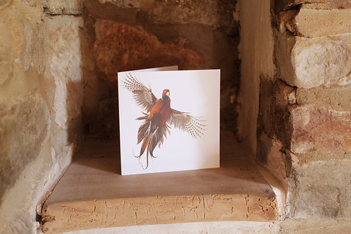 Flying pheasant greetings card
