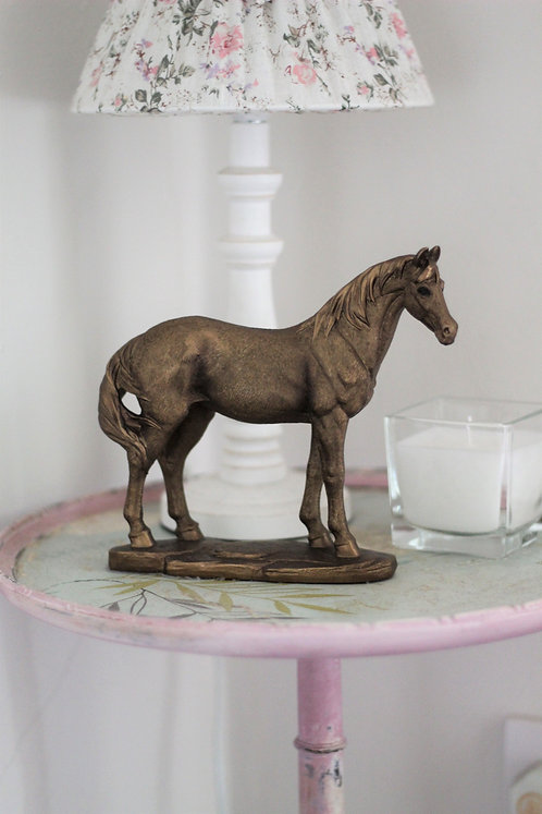 Bronzed effect standing horse ornament