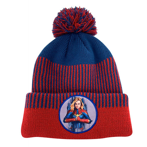 Marvel Avengers Captain Marvel Pom-Pom Beanie Hat