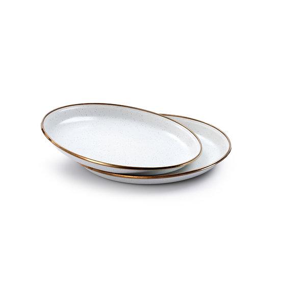 Barebones Enamel Salad Plate Egg Shell Set of 2