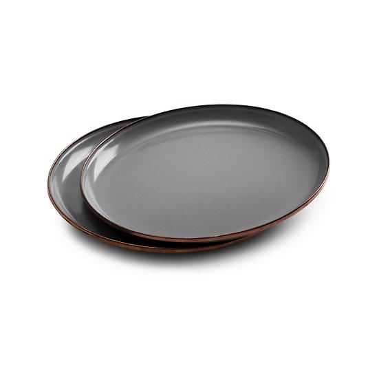 Barebones Enamel Salad Plate Slate Gray Set of 2