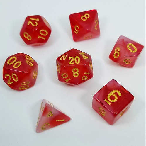 Fire Giant Red Polyhedral 7-Die Dice Set