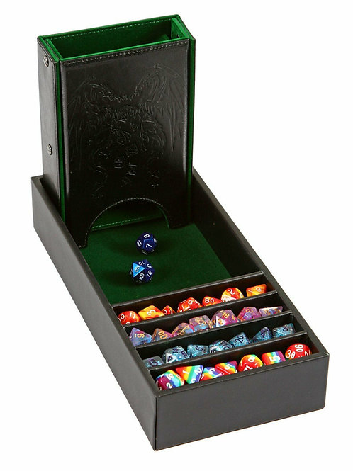 Green/Black Leather Dice Tower and Storage Tray