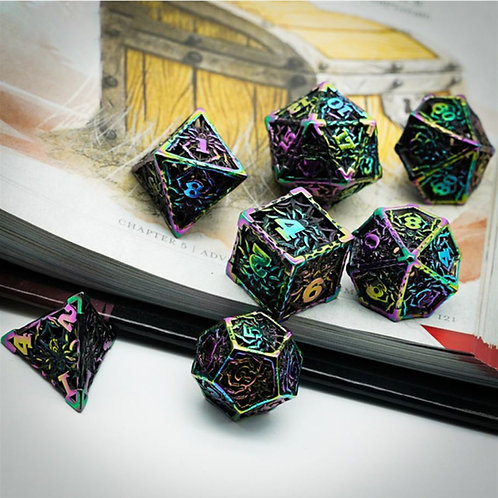 Spider Queen Hollow Metal 7 Dice Set