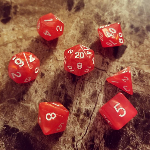Red Pearl Dice Set