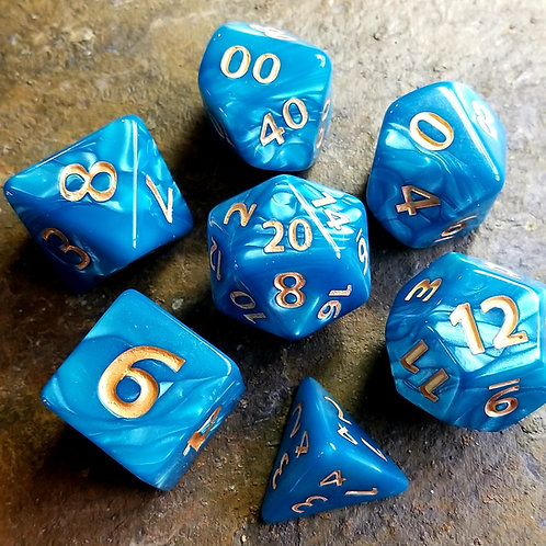 Colossal Blue Polyhedral Dice Set
