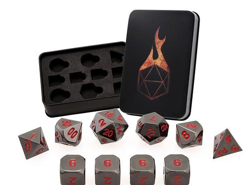 Molten Iron 7 Metal Dice Set