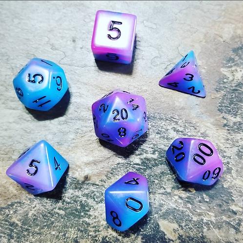 Voidwalker Purple GitD Polyhedral 7-Die Dice Set