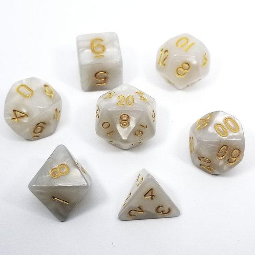 White Pearl Polyhedral 7-Die Dice Set