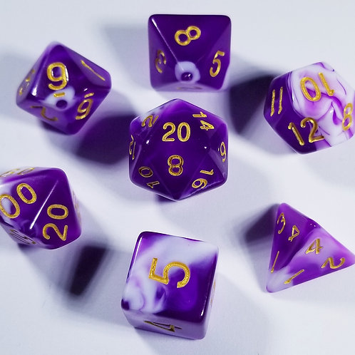 Purple Marble Polyhedral 7-Die Dice Set