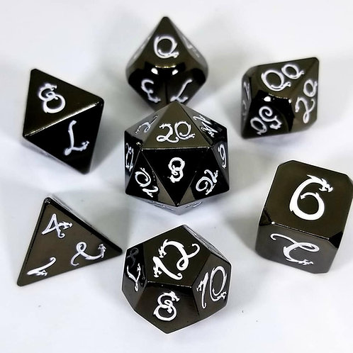 Ancient Black Dragon Metal Dice Set